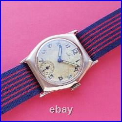 1935 Omega watch 9ct solid gold cushion case rare military vintage watch