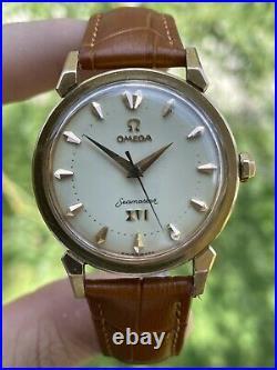 1956 OMEGA SEAMASTER Olympic XVI Mens Vintage 18K Rose Gold Very Rare Dial