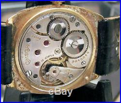 Antique Vintage Rare 1935 Omega Solid 18k Gold MID Size Wrist Watch Serviced