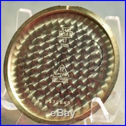 Beautiful 14k Gold Omega Of Pocket Watch C. 1944 Rare Case & 37.5t-17p Movement
