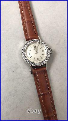 Beautiful Rare Vintage Omega Ladies White Face Diamond Antique Luxury Wristwatch