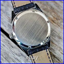 OMEGA Genéve Watch 1970 Model 136.041 Manual Wind Date Blue Dial WORKING Rare