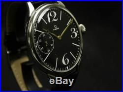 OMEGA Manual winding men's wristwatch rare antique modern vintage black dial