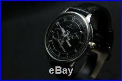 OMEGA hand-winding rare antique vintage men's wristwatch black dial mechanical