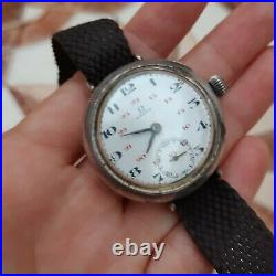 Old Vintage Trench Silver Omega, Rare Omega watch Silver Case Manual Mechanical
