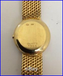 Omega 1353 Quartz 18k Gold Wrist Oval Gold Bracelet Vintage Rare Ladies Watch