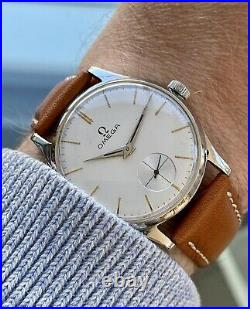 Omega 1954 Steel Mens Vintage Mechanical Sub Seconds Dial watch + Rare Box