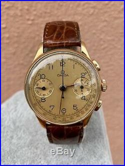 Omega 33.3 18k Rose Gold Vintage Rare Chronograph