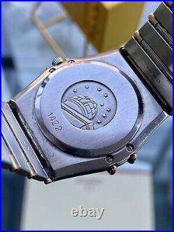 Omega Constellation Rare Grey Dial Mens Gold & Steel Quartz 33mm vintage watch
