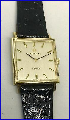 Omega Deville Vintage 9K Solid Gold Square Case Signed Five Times Classy Rare