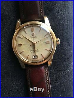 Omega Seamaster 2627 Calendar Vintage 14k RARE Rose Gold and Waffle Dial