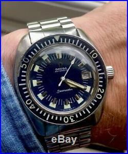 Omega Seamster 120 Rare Vintage Bracelet Watch Deep Blue Dial