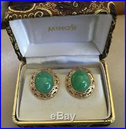 RARE LARGE VINTAGE MING'S APPLE GREEN JADE PIERCED OMEGA BACK EARRINGS 14k