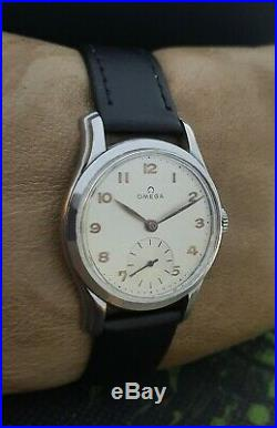 RARE! OMEGA WWII 40's MILITARY cal. 30T2-PC VINTAGE 36mm RARE 15J SWISS WATCH