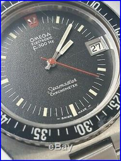 RARE VINTAGE OMEGA F300Hz SEAMASTER CHRONOMETER DIVERS WATCH WITH BOOKLET