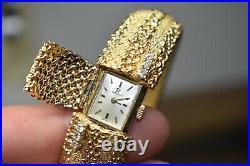 RARE Vintage 14k Omega Ladies Hidden Surprise Watch with box paperwork Diamond