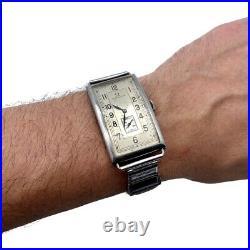 Rare 1920c Omega Art Deco Tank Large Mens Mechanical Vintage Watch Serviced
