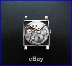 Rare 1940s Omega Square Steel Watch Cal. 23.4 Black and Gilt dial All Original