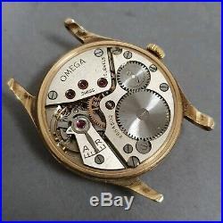 Rare 1943 Omega 9k Solid Gold Montal case Cal. 30T2 vintage wristwatch