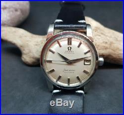 Rare 1960 Omega Calendar Silver Dial Cal503 Date Auto Man's Watch Big Seahorse