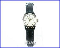 Rare 1960s Omega Seamaster Ladies Wristwatch Red Box Vintage Leather Bracelet
