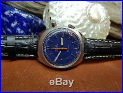 Rare 1962 Omega Geneve Chronostop Cal865 Blue Dial Man's Watch