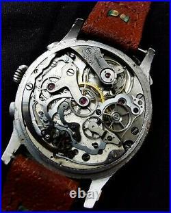 Rare 39mm antique snail telemetre chronograph Vintage watch landeron Hahn omega
