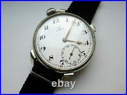 Rare OMEGA wristwatch motorcycle type enamel dial, Vintage style, case 48.5 mm