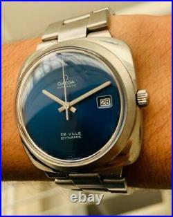 Rare Omega De Ville Dynamic Blue Dial 166.145 Vintage Automatic-cuf