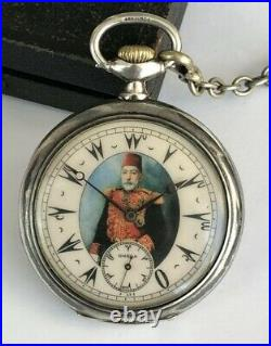 Rare Ottoman Turkish Award Sultan Mehmed V Antique Omega Silver Pocket Watch