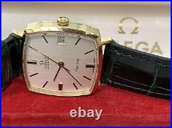 Rare & Stylish Omega Square Cushion 18ct Gold Automatic Gents Vintage 1969 Watch