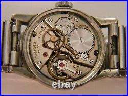 Rare Vintage 1940 Ww2 Era Omega 15j Military Mens Ss Watch Runs Needs Clean