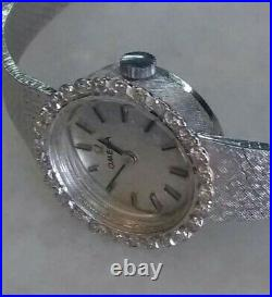 Rare Vintage Omega 14k White Gold Watch Diamond Bezel Converted to Quartz