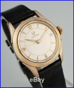 Rare Vintage Omega Cal 231 MID Sz Mens Watch 14k Rose Gold Cap Ref# 2621-2sc