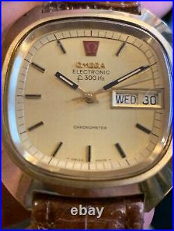 Rare Vintage Omega Electronic f300 Hz Day & Date Chronometer Watch