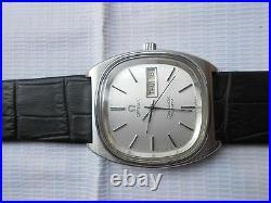 Rare Vintage Ss Day Date Swiss Made Omega Sea Master Mens Quartz Wristwatch