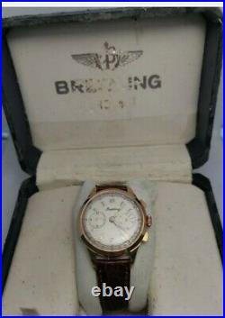 Rare vintage Breitling Chronograph Landeron 48 manual winding men watch with box
