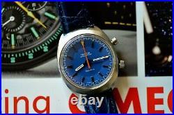 Stunning RARE Blue Dial! Vintage 1969 Omega Chronostop Geneve Chronograph Watch