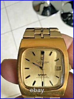 VERY RARE Vintage 70s Original Omega Constellation TV Dial AUTOMATIC GOLD watch