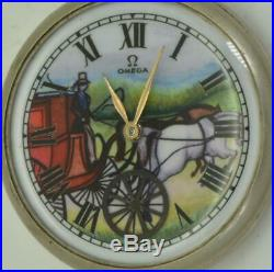 VERY RARE antique Omega pocket watch. Automaton Carriage fancy enamel dial
