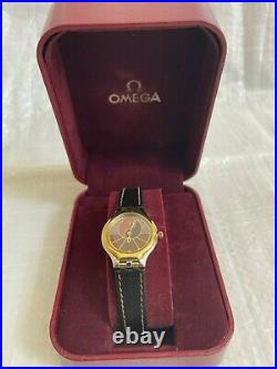 VINTAGE RARE OMEGA De Ville Symbol gold and steel ladies watch leather strap