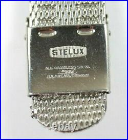 Very Rare Vintage Nos Stelux Two Piece Mesh Stainless Steel Watch Bracelet 20mm