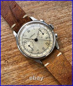 Very rare Vintage Chronograph Lemania 15TL (Omega 33.3) all steel bitonal dial
