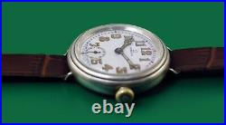 Vintage 1915 OMEGA WWI Early HERMETIC Military Trench STERLING Watch Super Rare