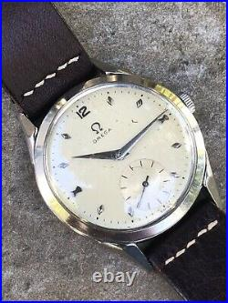 Vintage Mens Omega 2605 Cal 266 Rare Spider Lugs Rare Dial Watch Steel Case 36mm