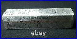 Vintage OMEGA M&B MINING Poured 50 Troy Ounce. 999 Pure SILVER BAR Very RARE