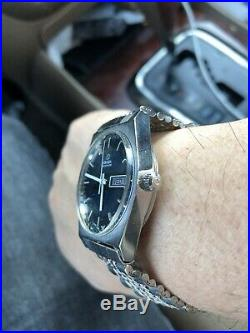 Vintage Omega Automatic Dark Blue Dial Date Dress Men's Watch Rare Items