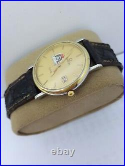 Vintage Omega De Ville Date Mens Watch Swiss Made Gp Rare Jordan Logo Perfect