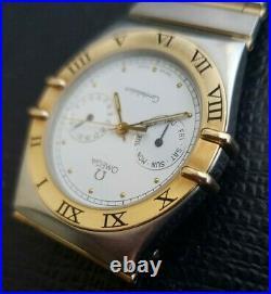 Vintage Omega Rare Dbl Moons White Dial, Roman Bezel 18KT Full Bars & $erviced