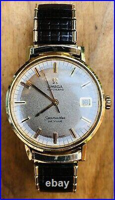 Vintage Omega Seamaster De Ville Date 14KGF Rare Dial Mens Automatic Watch